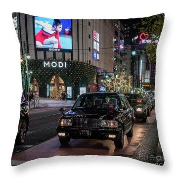Black Taxi In Tokyo, Japan Throw Pillow