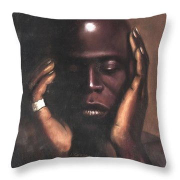 Black Thought Throw Pillow by L Cooper