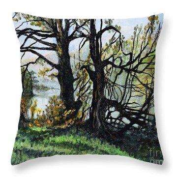 Black Trees Entanglement Throw Pillow