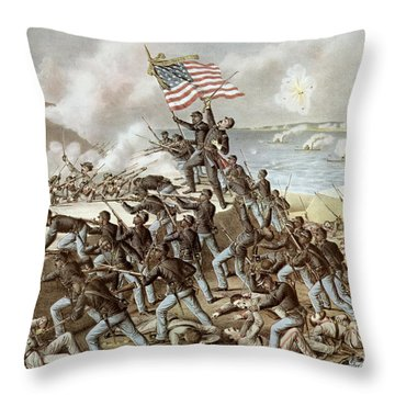 Black Troops Of The Fifty Fourth Massachusetts Regiment During The Assault Of Fort Wagner Throw Pillow by American School