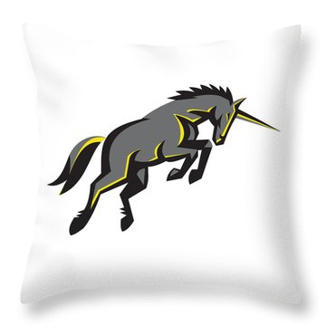 Black Unicorn Horse Charging Isolated Retro Throw Pillow by Aloysius Patrimonio