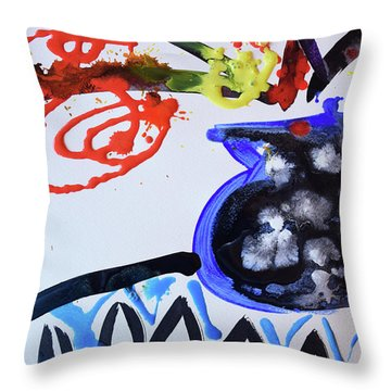 Black Vase Of Wild Flowers Throw Pillow