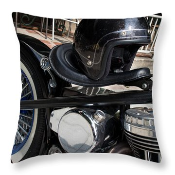 Throw Pillow featuring the photograph Black Vintage Style Motorcycle With Chrome And Black Helmet by Jason Rosette