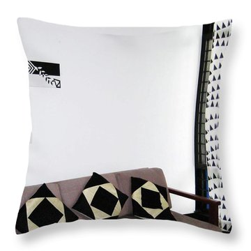 Black Vs White - Displayed Throw Pillow by Farah Faizal