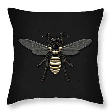Black Wasp With Gold Accents On Black  Throw Pillow by Serge Averbukh