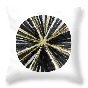 Black, White And Gold Ball- Art By Linda Woods Throw Pillow