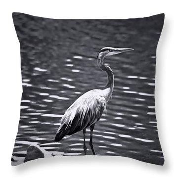 Black/white  Heron Throw Pillow