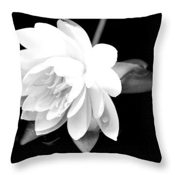 Black/white Lotus Throw Pillow