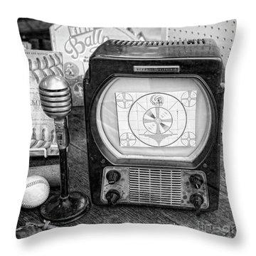 Black White Old Timers Tv Baseball  Throw Pillow