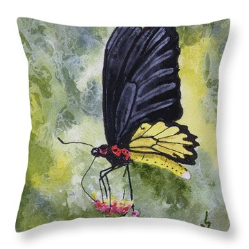 Throw Pillow featuring the painting Black Winged Yellow Fellow by Sam Sidders