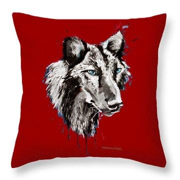 Black Wolf 2- Animal Art By Valentina Miletic Throw Pillow