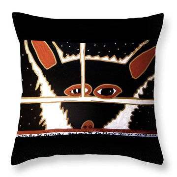 Throw Pillow featuring the mixed media Black Wolf by Clarity Artists