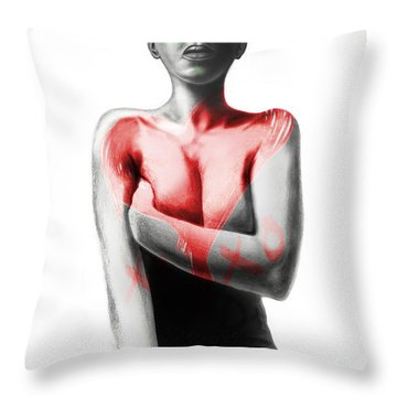 Black Xoxo Throw Pillow by AC Williams