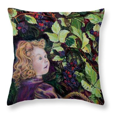 Blackberry Elf Throw Pillow by Susan Moore