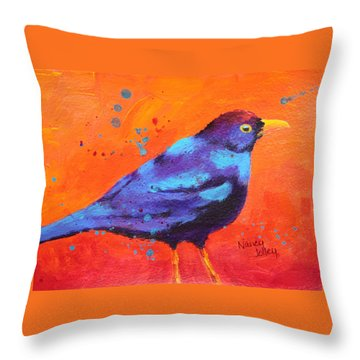 Blackbird II Throw Pillow by Nancy Jolley