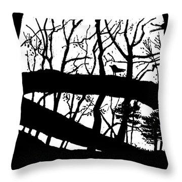 Blackbird In The Woods Throw Pillow by Martin Stankewitz