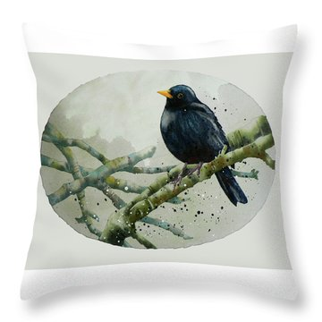 Blackbird Painting Throw Pillow by Alison Fennell