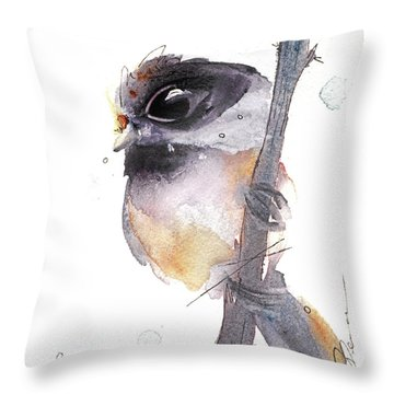 Throw Pillow featuring the painting Blackcapped Chickadee by Dawn Derman
