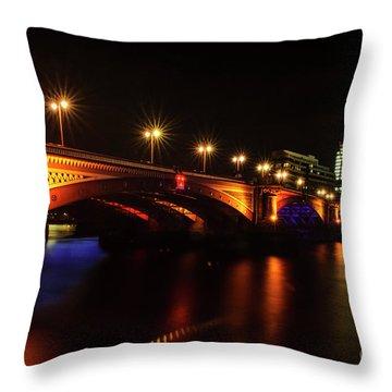 Blackfriars Bridge Illuminated In Orange Throw Pillow