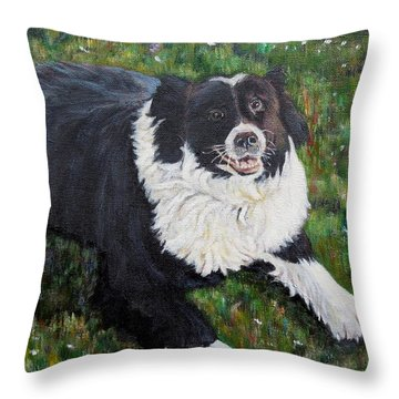 Throw Pillow featuring the painting Blackie by Marilyn  McNish
