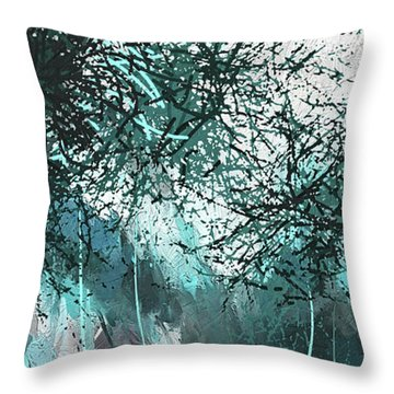 Throw Pillow featuring the painting Blackish Blues -turquoise And Gray Modern Artwork by Lourry Legarde