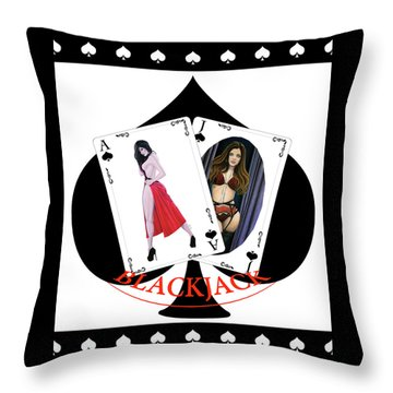 Black Jack Spades Throw Pillow