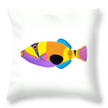 Blackpatch Triggerfish  Throw Pillow by Opas Chotiphantawanon