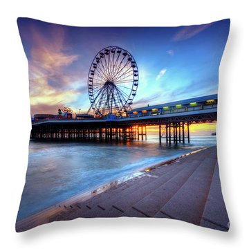 Throw Pillow featuring the photograph Blackpool Pier Sunset by Yhun Suarez
