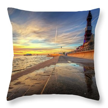 Throw Pillow featuring the photograph Blackpool Sunset by Yhun Suarez