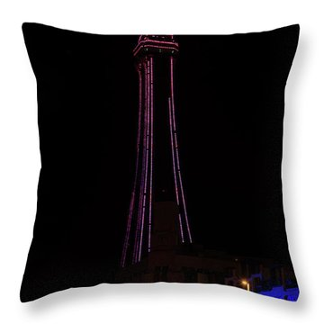 Blackpool Tower Pink Throw Pillow by Steev Stamford