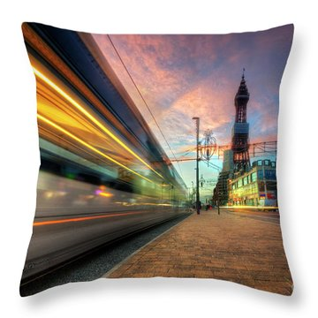 Throw Pillow featuring the photograph Blackpool Tram Light Trail by Yhun Suarez