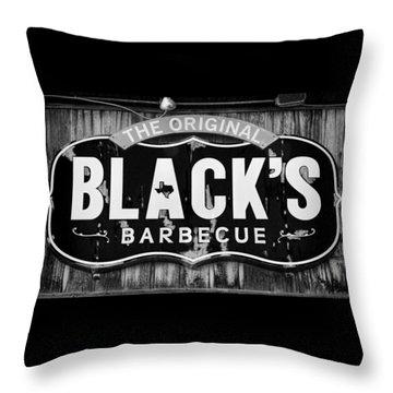 Blacks Barbecue Sign #3 Throw Pillow