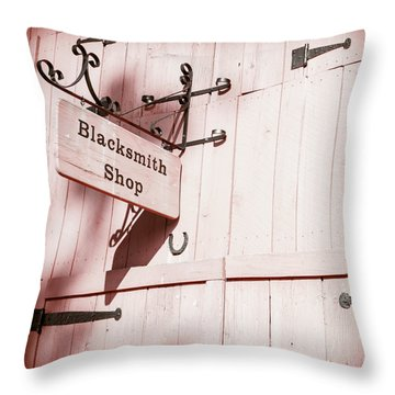 Throw Pillow featuring the photograph Blacksmith Shop by Alexey Stiop