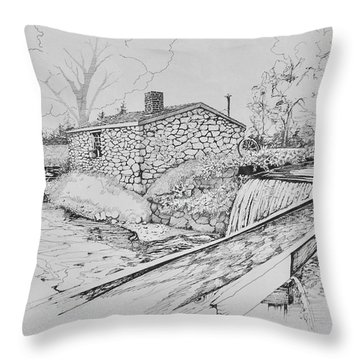 Throw Pillow featuring the drawing Blacksmith Shop At Waterloo Village , N.j.  by Alan Johnson