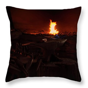 Throw Pillow featuring the digital art Blacksmith Shop by Chris Flees