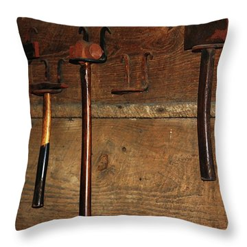 Throw Pillow featuring the photograph Blacksmith Tools by Kim Henderson