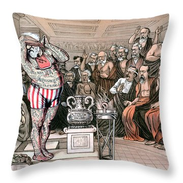 Blaine Cartoon, 1884 Throw Pillow by Granger