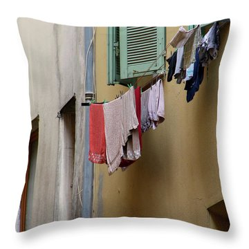 Throw Pillow featuring the photograph Blanchisserie by Rasma Bertz