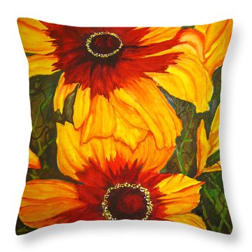 Throw Pillow featuring the painting Blanket Flower by Lil Taylor