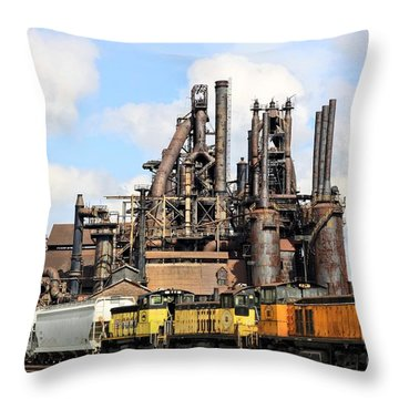 Blast Furnaces Of South Bethlehem Throw Pillow