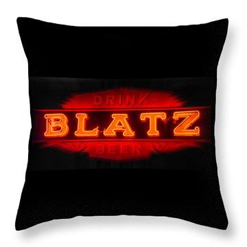 Blatz Beer  Throw Pillow by Susan  McMenamin