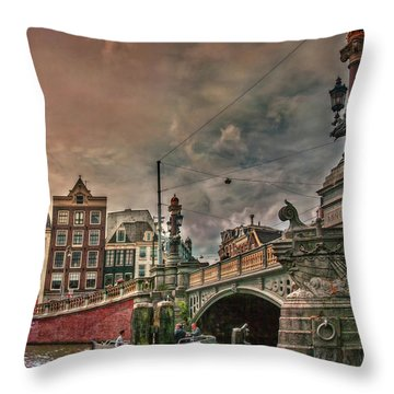 Throw Pillow featuring the photograph Blauwbrug -blue Bridge- by Hanny Heim