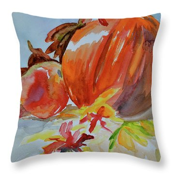 Throw Pillow featuring the painting Blazing Autumn by Beverley Harper Tinsley
