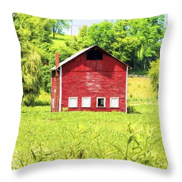 Blazing Barn Throw Pillow