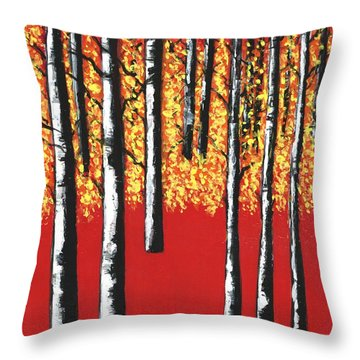 Blazing Birches Throw Pillow
