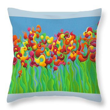 Blazing Blossom Bash Throw Pillow