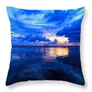 Throw Pillow featuring the photograph Blazing Blue Sunset by Anthony Baatz