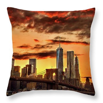 Blazing Manhattan Skyline Throw Pillow