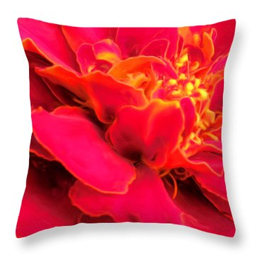 Blazing Pink Marigold Throw Pillow