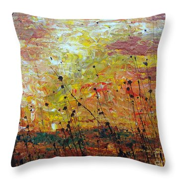 Throw Pillow featuring the painting Blazing Prairie by Jacqueline Athmann